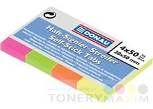 Ostatné - Záložky, papierové, 4x50 listov, 20x50 mm, DONAU, rôzne farby bal (200 list)