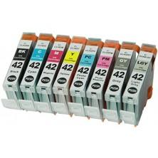 Náplne Canon CLI-42BK/GY/LGY/C/M/Y/PC/PM - Multipack 8 alternatívnych náplní